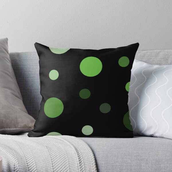 Linear Green - Dots Throw Pillow