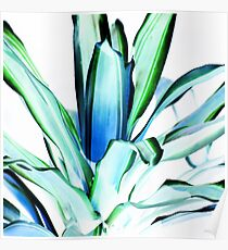 Plant Leaves Abstract  Green Blue Poster