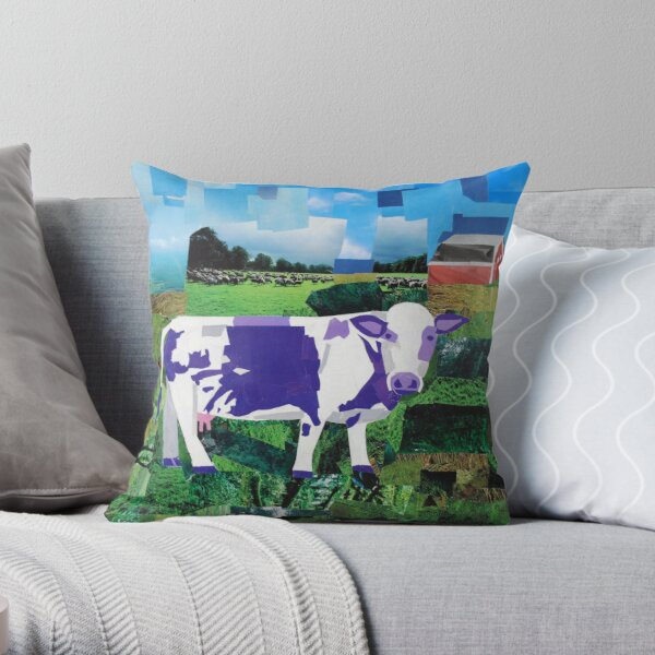 A Purple Cow's Paradise Throw Pillow
