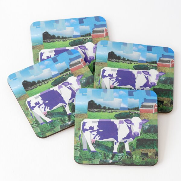 A Purple Cow's Paradise Coasters (Set of 4)