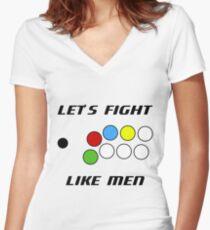 Arcade Stick: Let's Fight Like Men Women's Fitted V-Neck T-Shirt