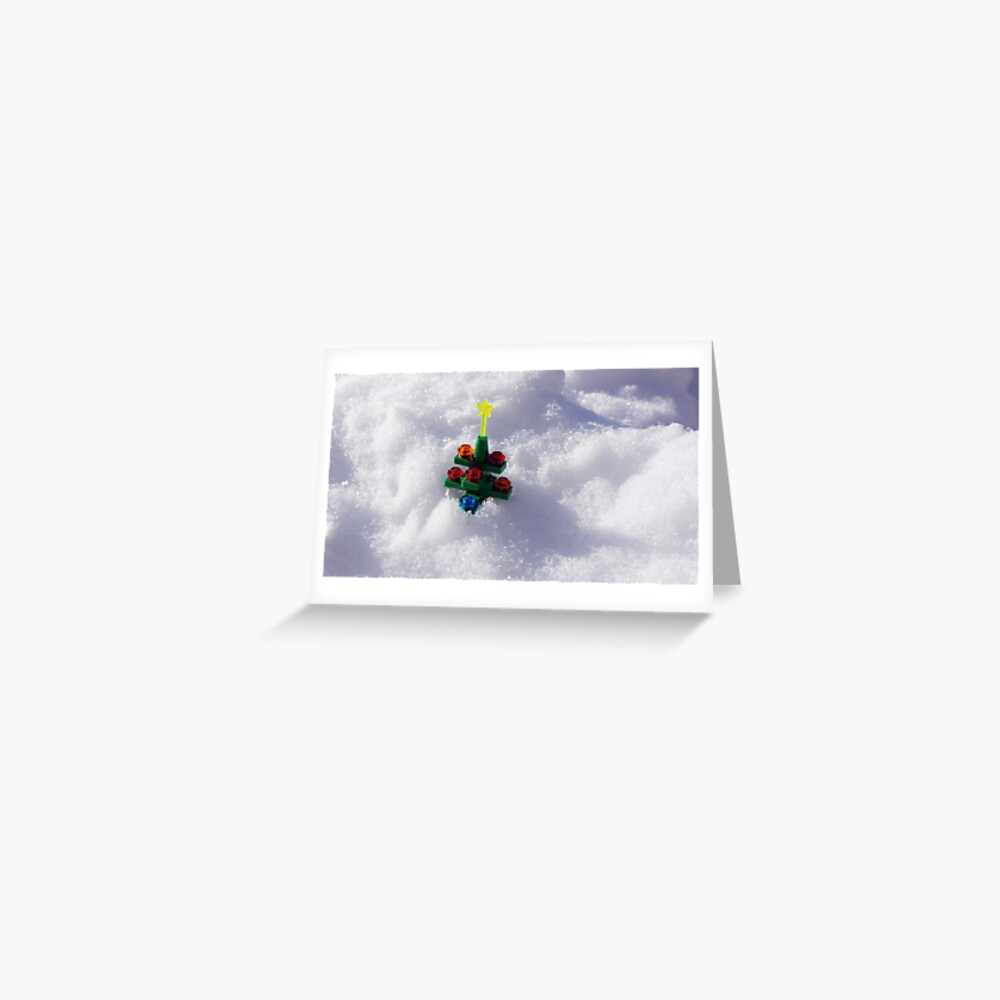 Lego Christmas Tree in the Snow Greeting Card