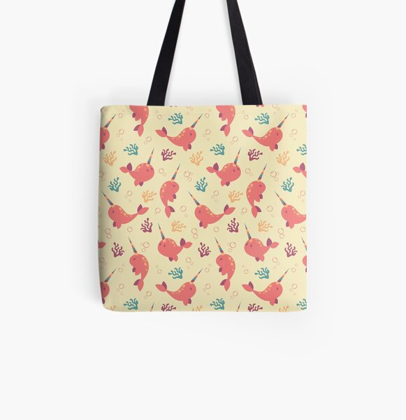 To the Window to the Narwhal - Coral & Cream All Over Print Tote Bag