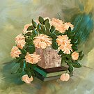 Peachy Roses On The Coffee Table by Lois  Bryan