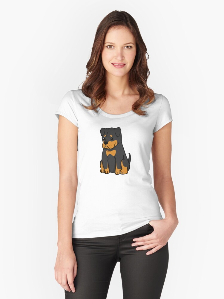 Rottweiler Cute Cartoon Womens Fitted Scoop T Shirt By Ilovepaws
