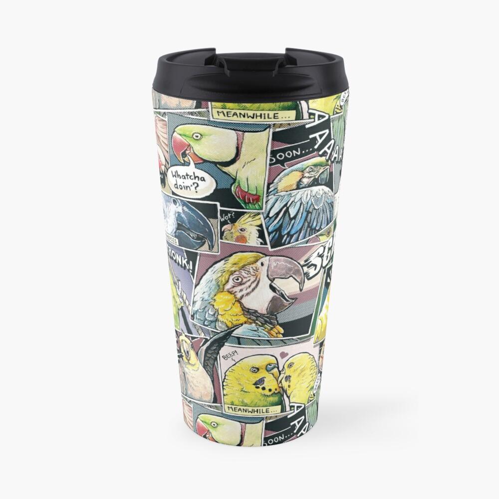 Parrots Comic Style Travel Mug