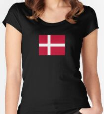 Denmark Flag - Danmark Fodbold DK Danish Sticker T-Shirt Women's Fitted Scoop T-Shirt