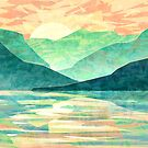 Spring Sunset over Japanese Emerald Mountains - Abstract Landscape by Thubakabra