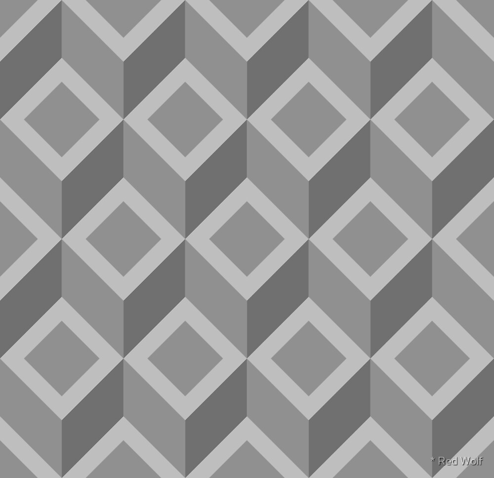 Geometric Pattern: Diamond Chevron: Grey by * Red Wolf