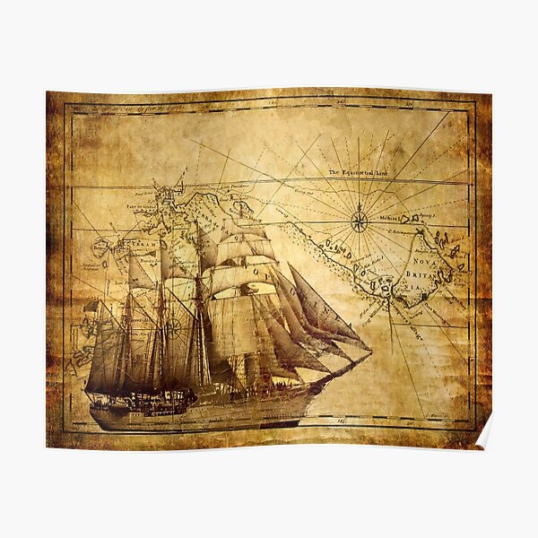 Vintage ship map Poster