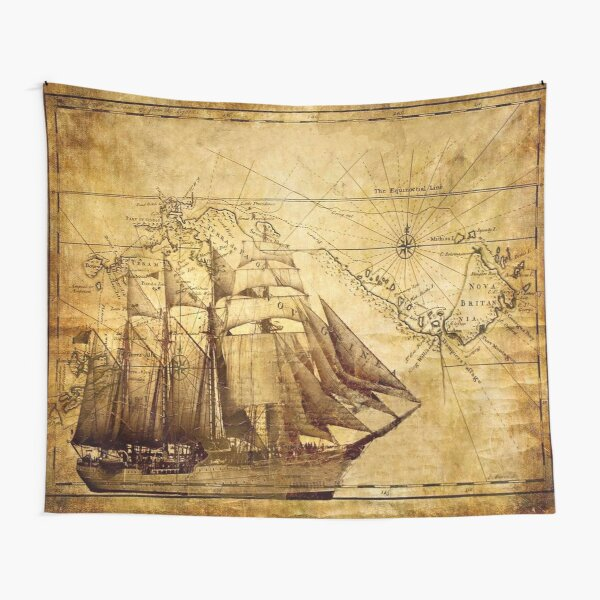Vintage ship map Tapestry