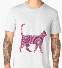 Cat Floral Pink Design  Men's Premium T-Shirt