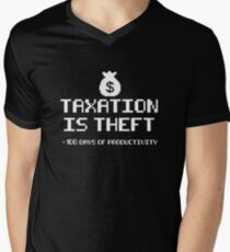 Taxation Is Theft Power Down Men's V-Neck T-Shirt