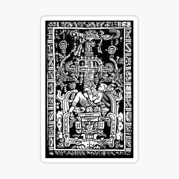 Ancient Astronaut. Pakal, Maya, sarcophagus lid, in Black & White. Sticker