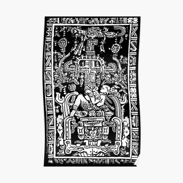 Ancient Astronaut. Pakal, Maya, sarcophagus lid, in Black & White. Poster