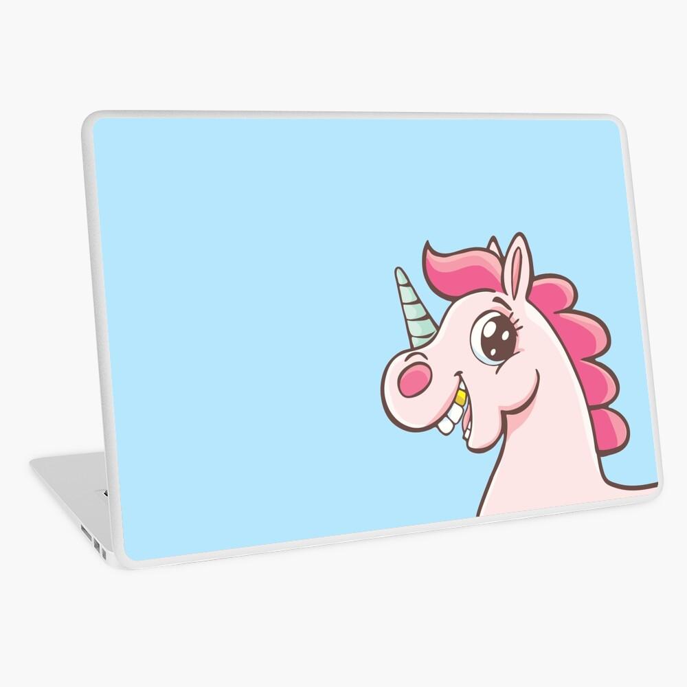 Unicorn with gold teeth Laptop Skin