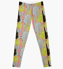Motif géométrique jaune, gris bleuté, rose, effet pixellisé  Leggings