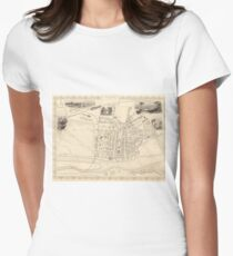 Vintage Map of Perth Scotland (1851) Women's Fitted T-Shirt