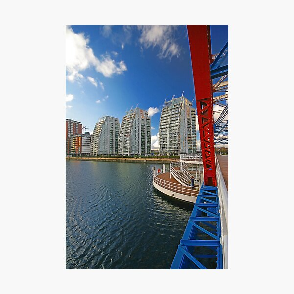 SALFORD QUAYS SWING BRIDGE AND THE THREE SISTERS Photographic Print