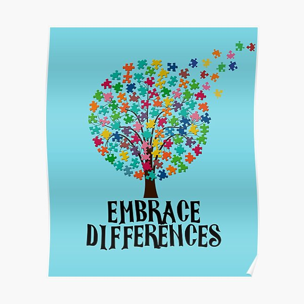 Embrace Differences Autism Awareness T Shirt for Men Women Poster