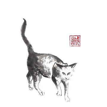 Tough roamer sumi-e painting by Umi-ko