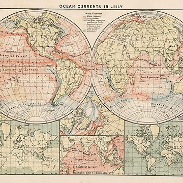 Vintage World Ocean Currents Map (1905) by BravuraMedia