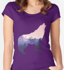 Double Exposure Wolf with Landscape  Women's Fitted Scoop T-Shirt