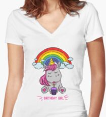 """Unicorn party kid's T-shirt for girls """"I am pink unicorn"""" Women's Fitted V-Neck T-Shirt"""