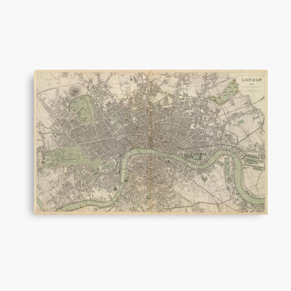 Vintage Map Of London England 1832 Canvas Print By Bravuramedia Redbubble