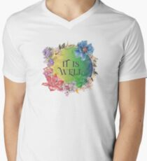 It is well - Colorful Floral Christian Gifts Men's V-Neck T-Shirt