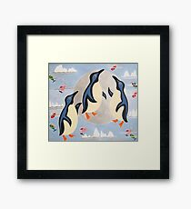 Penguins Playing with the Moon Framed Print