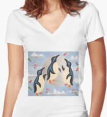 Penguins Playing with the Moon Women's Fitted V-Neck T-Shirt