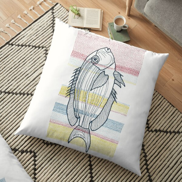 Stitches: Fish (in red, yellow and blue) Floor Pillow