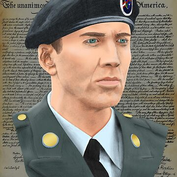 Nic Cage portrait infront of the Declaration of Independence by s3w4g3
