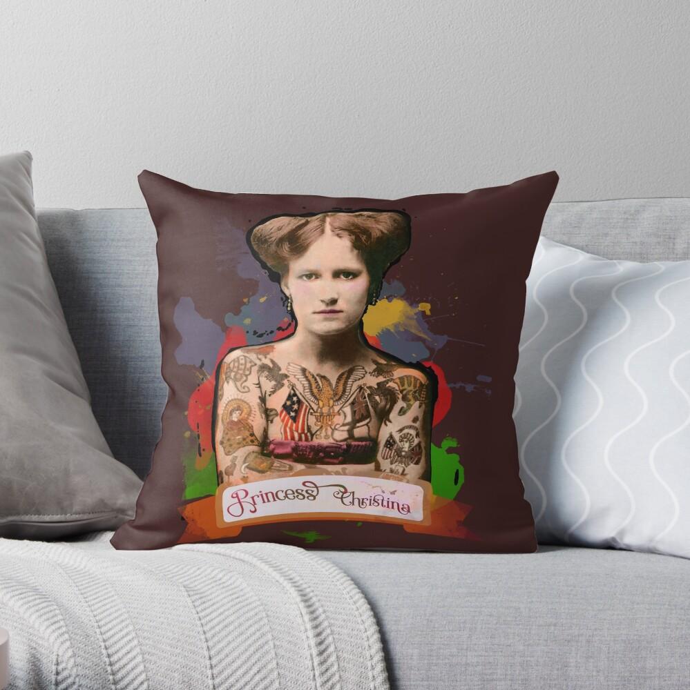 Princess Christina (The Tattooed lady) - The Britannia Panopticon Throw Pillow