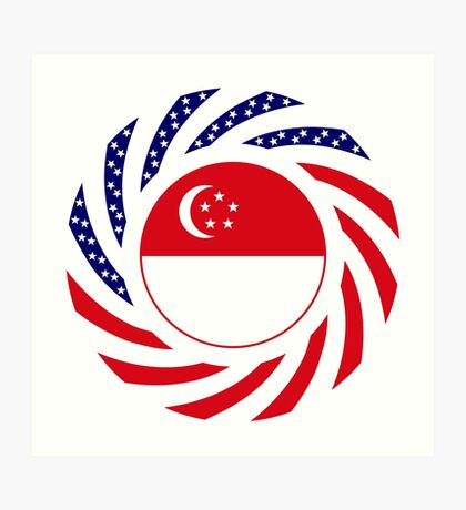 Singapore American Multinational Patriot Flag Series Art Print