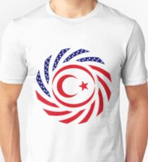 Northern Cyprus American Multinational Patriot Flag Series Slim Fit T-Shirt