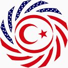 Northern Cyprus American Multinational Patriot Flag Series by Carbon-Fibre Media