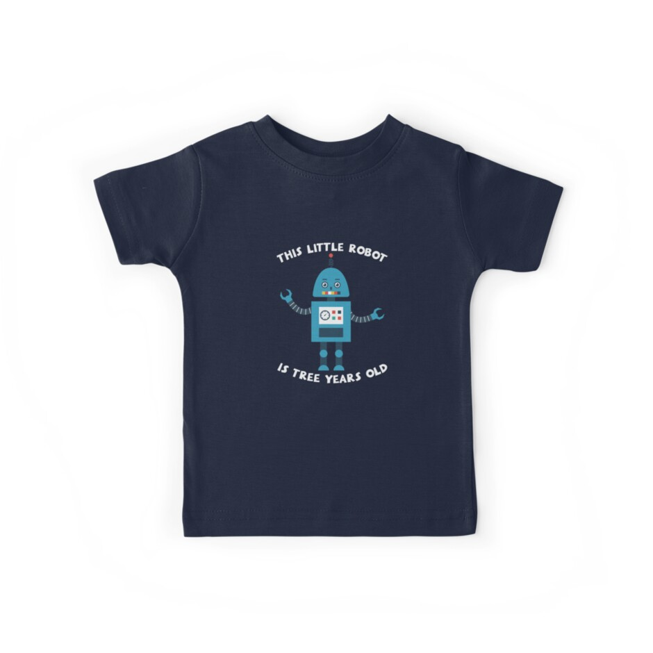 This Little Robot Is 3 Years Old Cute T Shirt
