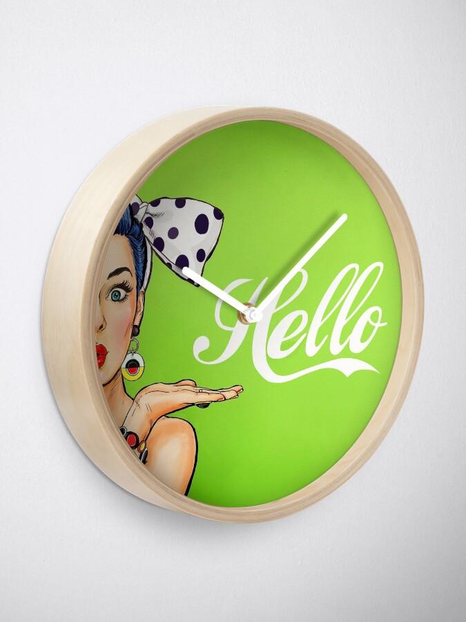 Alternate view of Pop art girl over green background, Hello! Clock
