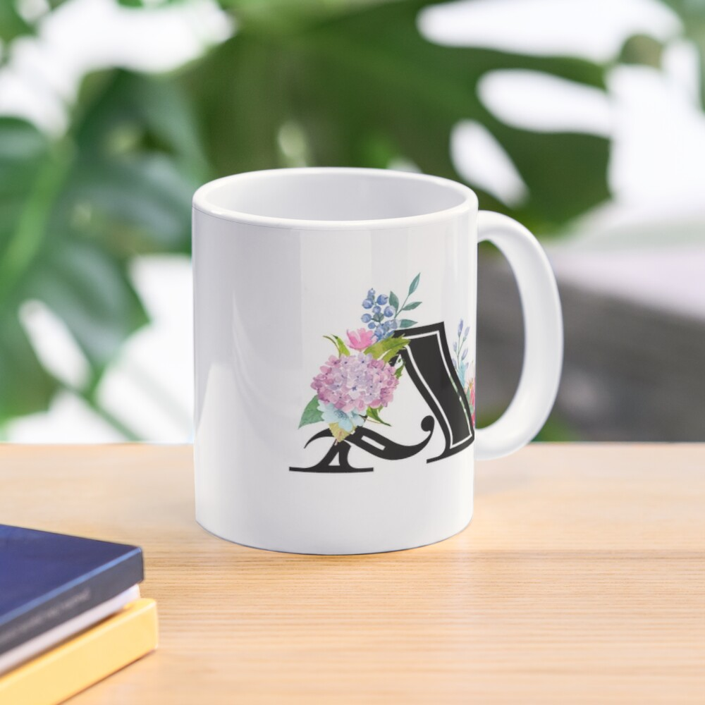 Pretty Pastel Watercolor Floral Letter A Mug