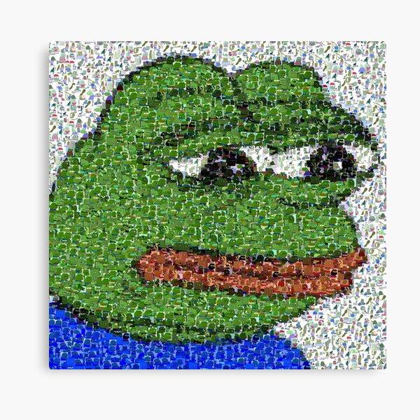 Sad Pepe Collage Canvas Print