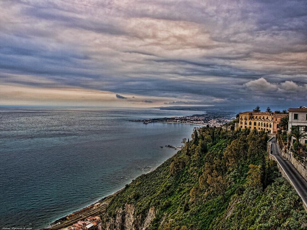 view of the coastline from Taormina by Andrea Rapisarda