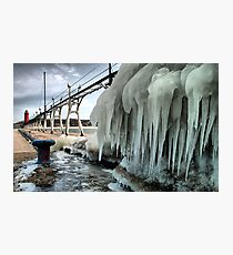 Grand Haven Pier with Ice Photographic Print