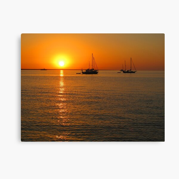 Sailboats at Sunset II Canvas Print