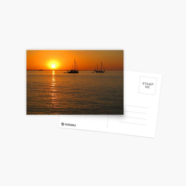 Sailboats at Sunset II Postcard