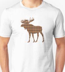Moose: Brown Plaid Unisex T-Shirt