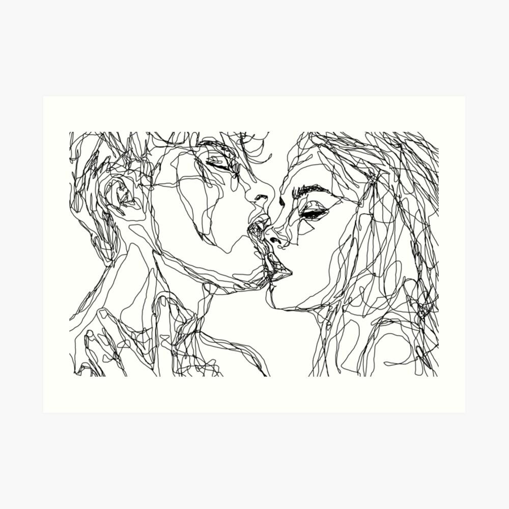 kiss more often (B & W) Art Print