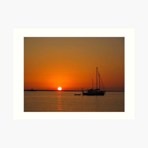 Sailboat at Sunset Art Print
