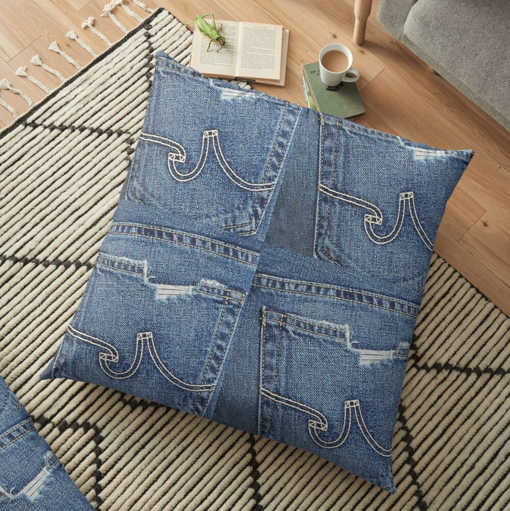 Denim, Blue Jean Distressed Patchwork Design Floor Pillow
